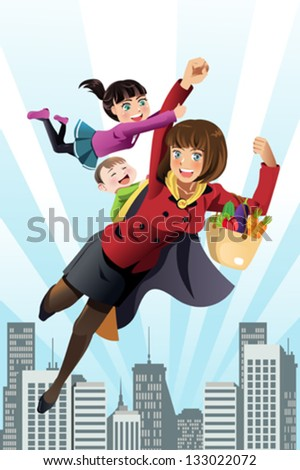 A vector illustration of superhero mom concept