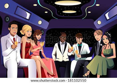 A vector illustration of teenagers going to a prom party in a limousine