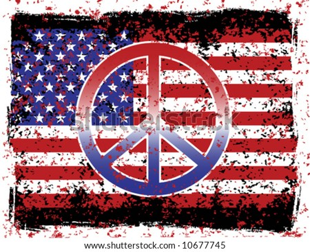 A vector illustration of the American flag and peace symbol with grunge effects. Separate layers for easy editing.