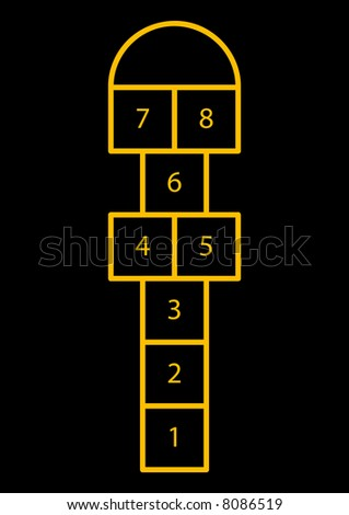 A vector illustration of the hopscotch game.