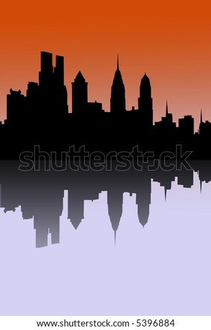 A Vector illustration of the new Philadelphia skyline with the additions recently under construction.