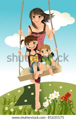 A vector illustration of three sibling, a brother and two sisters playing swing