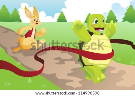 A vector illustration of tortoise and hare racing