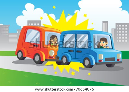 A vector illustration of two cars in an accident