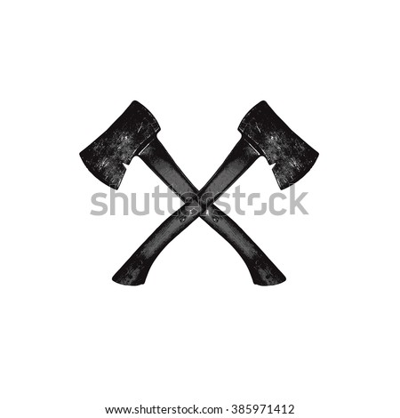 A vector illustration of two crossed axes. Crossed Axes Silhouette