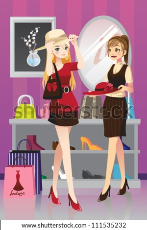 A vector illustration of two girls shopping