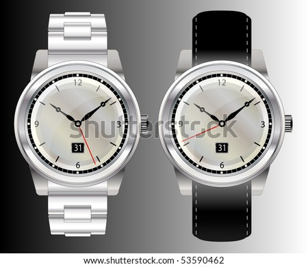 A vector illustration of two stainless steel wristwatches with mother of pearl faces and different straps