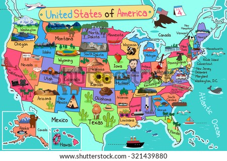 A vector illustration of USA map in cartoon style