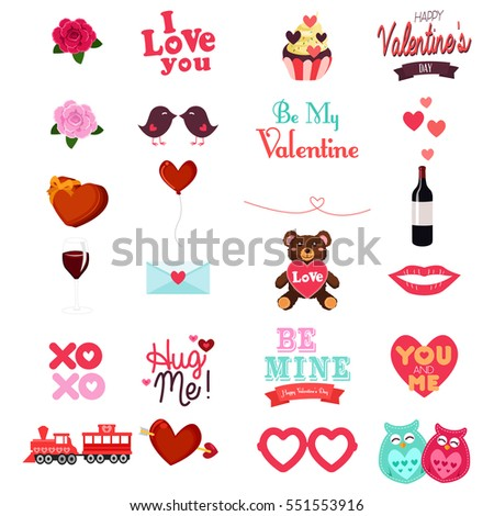 A vector illustration of Valentines Day Clipart Icon Set