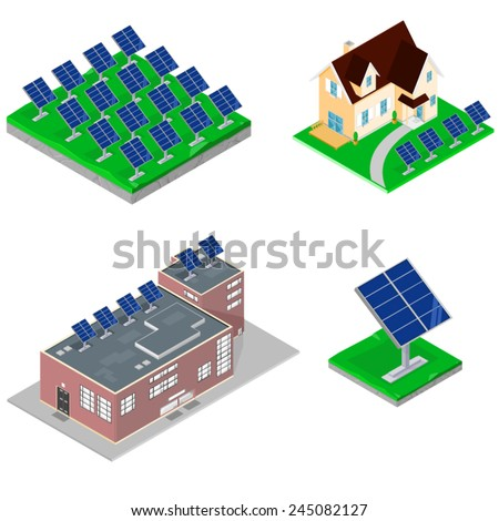 A vector illustration of various isometric modern buildings using solar power. Buildings With Solar panels. Isometric Buildings with solar panels.
