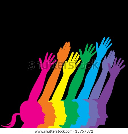 A vector illustration of various men and men and women holding their hands up to symbolize human diversity, isolated on a black background with additional space for text