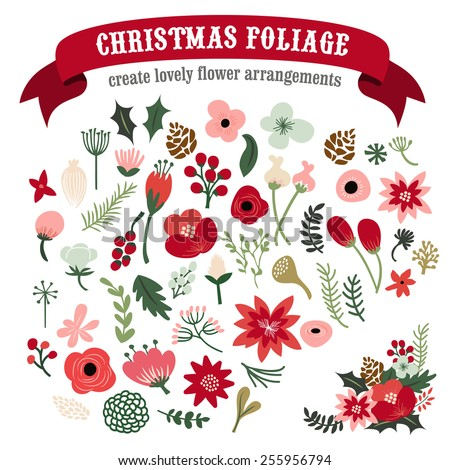 A vector illustration of vintage hand drawn christmas botanical foliage set. You can use these to create your lovely holiday flower bouquet and arrangements.