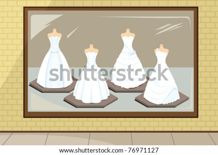 A vector illustration of wedding dresses in store display