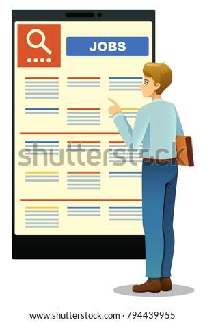 A vector illustration of Woman Looking at Job Posting