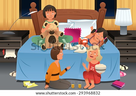 A vector illustration of young girls having a slumber party