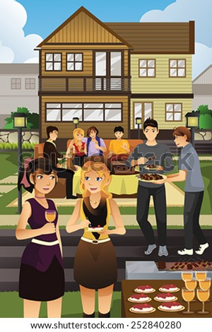 A vector illustration of young people having garden party