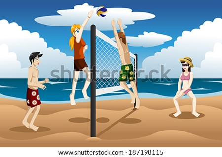 A  vector illustration of young people playing beach volleyball