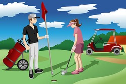 A vector illustration of young people playing golf together