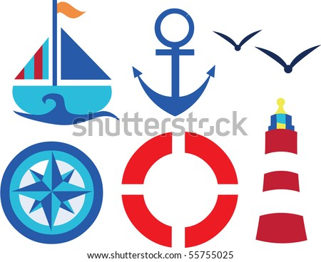 a vector illustration set of Set of nautical vector symbols - stock vector