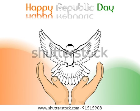 A vector illustration showing freedom, pigeon released from hands on colorful  background for Republic and Independence Day.