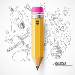 A vector illustration with a simple pencil. Yellow pencil on the background of the sketch.