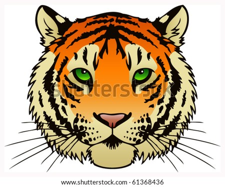 A vector ink illustration of a tiger's face.