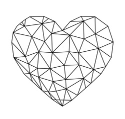 a vector low poly heart shape with outlines