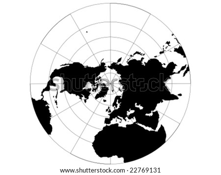 World map with latitude and longitude download free vector art a vector map of the northern hemisphere with a map grid that uses a polar stereographic gumiabroncs Choice Image