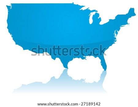 A vector map of the USA with a reflection