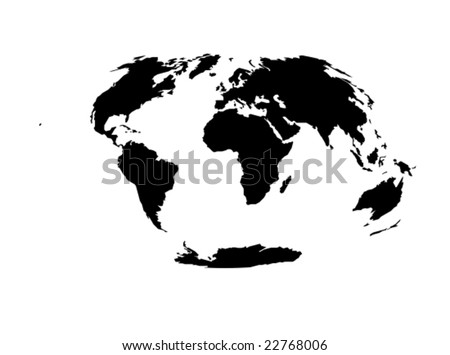 A vector map of the world that uses the Hammer projection only showing the continents in black.