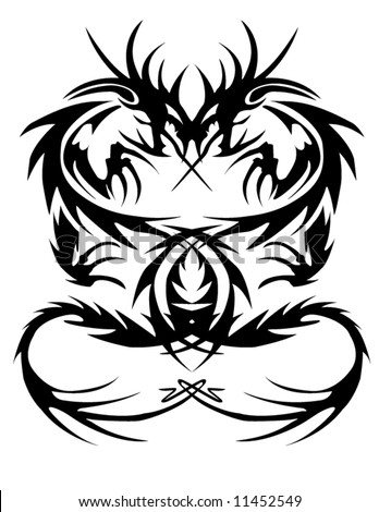 Stock vector a vector of a tribal dragon tattoo 11452549 jpg