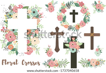 a vector of floral crosses