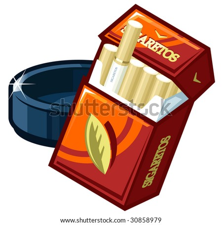 A vector pack of cigarettes  and  ashtray