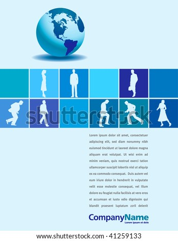 A vector page layout with a globe and businesspeople