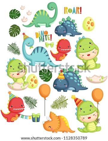 a vector set of dinosaur birthday theme