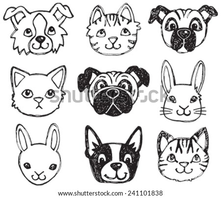 a vector set of dog  cat and