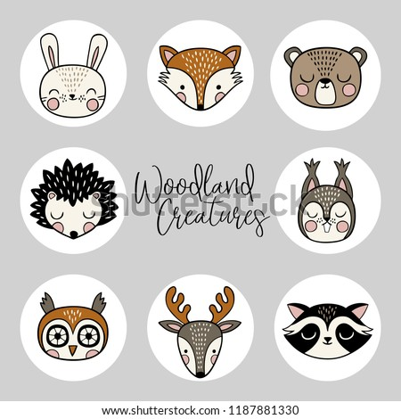 A vector set of hand drawn cute woodland animals. Perfect for stickers, tee shirt logo, greeting card, poster, invitation, print design. You can find the matching seamless pattern in my Woodland set.