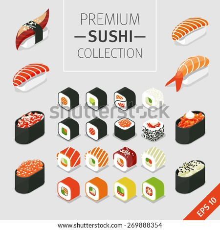A vector set of Japanese food Icons - colorful sushi and rolls. Isometric food.