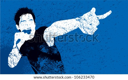 A vector silhouette of a male punk rock singer styled to look like a worn, grungy handmade print.