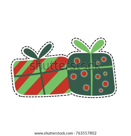 Stock Photo a vector sticker  with gifts. Gift boxes isolated on white. A patch in a vintage style, hand drawn and doodle.