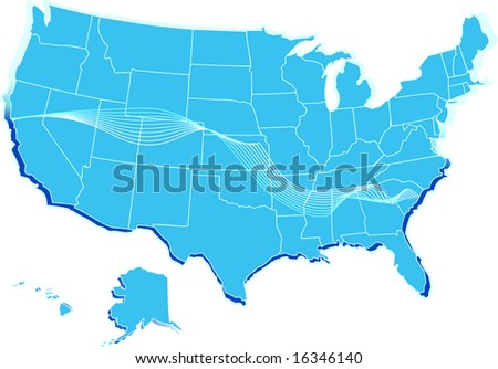 A vector stylized usa map