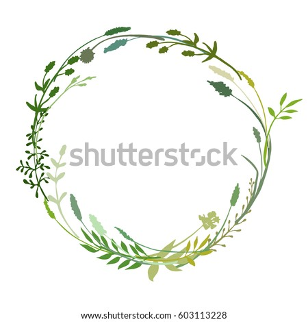 a vector wreath isolated on white background; great to frame texts; quotes; logos; made of flowers; branches; twigs; herbs