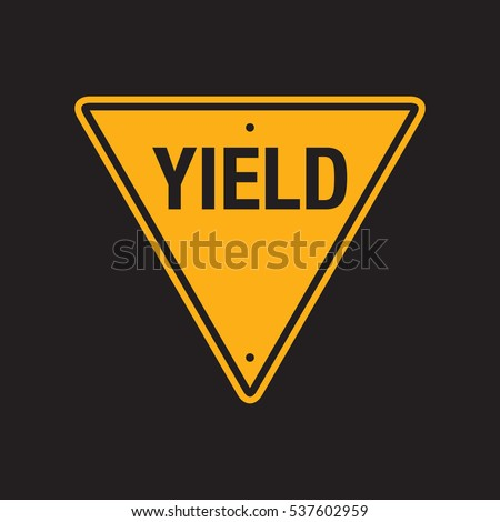 A vector yield sign on a simple black background.