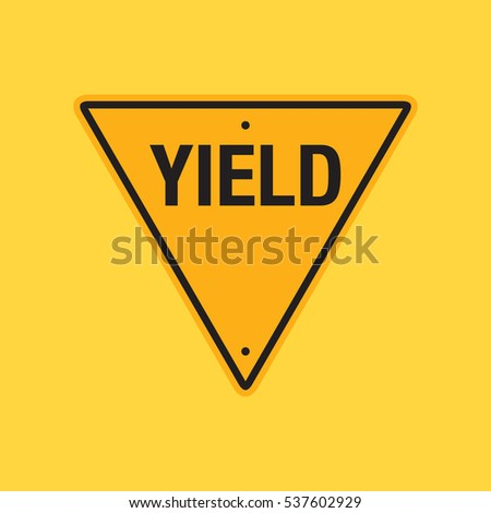 A vector yield sign on a simple yellow background.