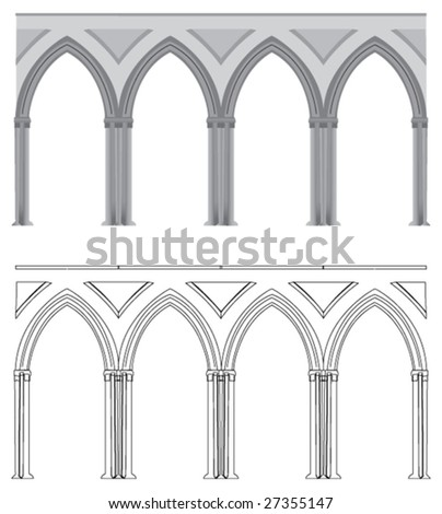 A vectorized Gothic style column, in vectorized lines or colored.