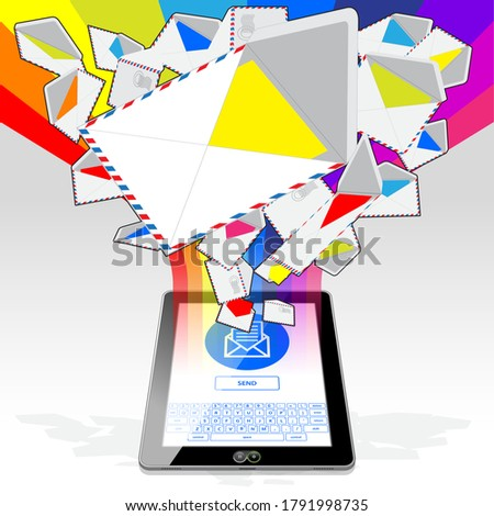 A (vertical) Tablet Computer, sending and receiving electronic mail. Illustrated is a stream of email randomly emitting / streaming from its display screen. Foto stock ©