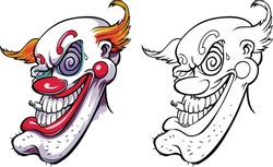 A very bad clown with a cigar in his mouth. Face of horror and crazy maniac scaring zombies. Vector illustration