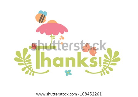 A very cute Thanks card - stock vector
