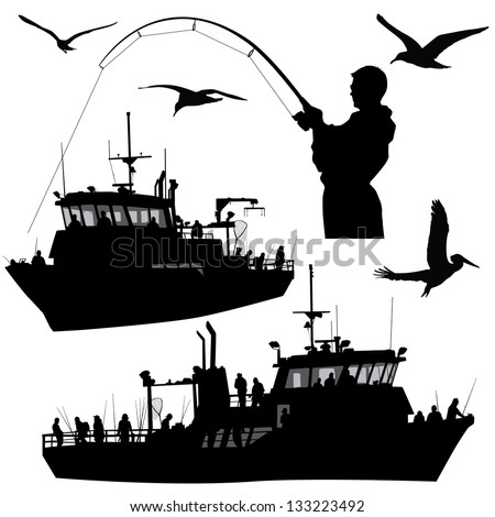 a very detailed silhouettes of fishing party charter boats with seagulls and a fisherman reeling in a catch