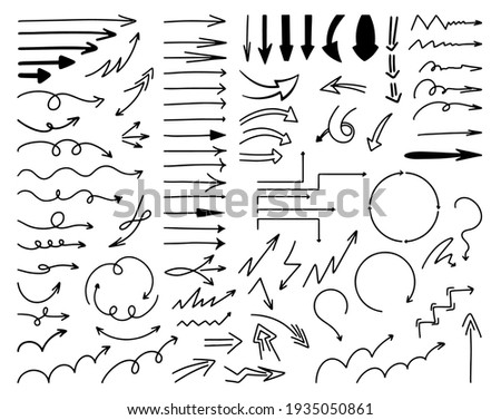 a very Large Set of Various black hand-drawn Arrows, doodle art, line art. Arrow options: Straight, Twisting, Ascending, Step, Circular, Thick, Thin, Long, Angular, Zigzag arrows